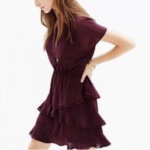 Madewell Above the Knee Burgundy Tiered Dress